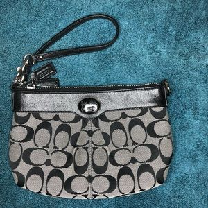 Coach Wristlet - Small Black and Grey